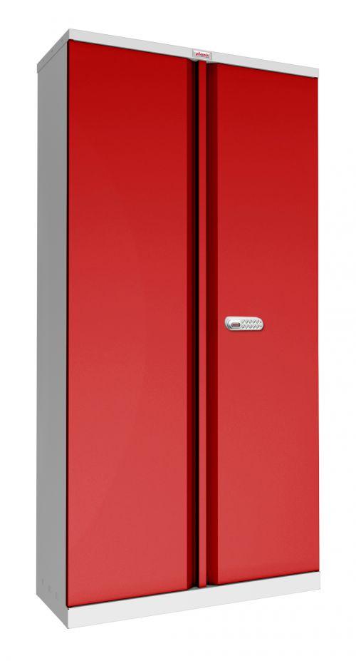 Phoenix SCL Series SCL1891GRE 2 Door 4 Shelf Steel Storage Cupboard Grey Body & Red Doors with Electronic Lock