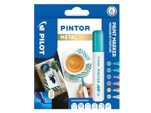 Pilot Pintor Medium Bullet Tip Paint Marker 4.5mm Metallic Assorted Colours (Pack 6)  3131910517450