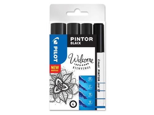 Pilot Pintor Paint Marker Extra Fine/Fine/Medium/Broad Black (Pack 4) 3131910537519