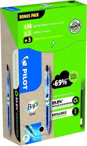 Pilot Greenpack B2P Eco Gel 0.7mm Black 10 Pens and 10 Refills