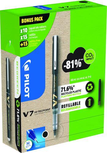 Pilot Greenpack Begreen V7 Hi-Tecpoint Cartridge System Liquid Ink Rollerball Pen Recycled 0.7mm Tip 0.5mm Line Black (Pack 10 Plus 30 Refills)