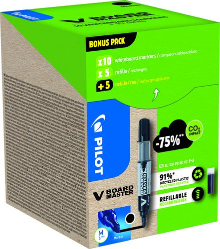 Pilot Greenpack V-Board Master Whiteboard Marker Bullet Tip 2.3mm Line Black (Pack 10 Markers and 10 Refills)