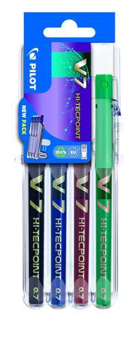 Pilot Set2Go V7 Hi-Tecpoint Liquid Ink Rollerball Pen 0.7mm Tip 0.5mm Line Black/Blue/Green/Red (Pack 4)