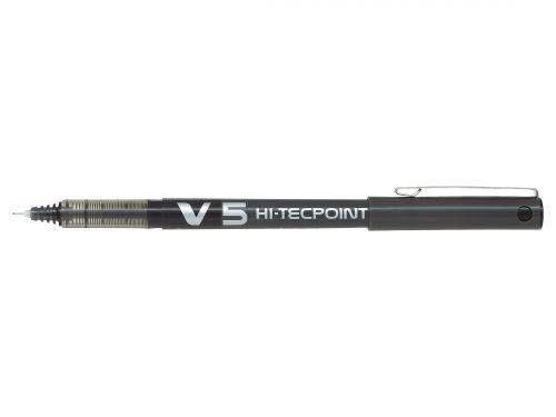 Pilot V5 Hi-Tecpoint Rollerball Pen Liquid Ink 0.5mm Tip 0.3mm Line Black Ref V501 [Pack 12]