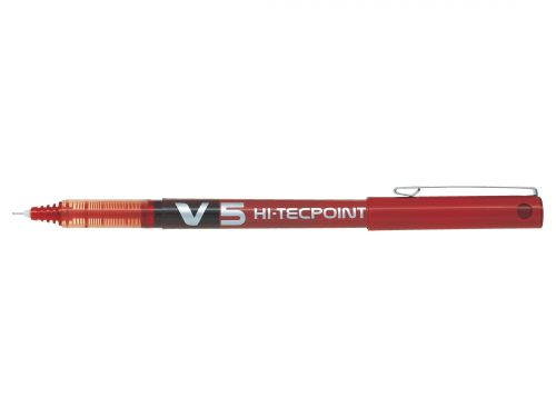 Pilot V5 Hi-Tecpoint Rollerball Pen Liquid Ink 0.5mm Tip 0.3mm Line Red Ref V502 [Pack 12]