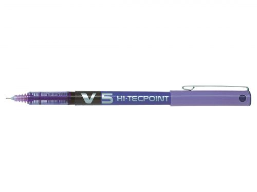 Pilot V5 Hi-Tecpoint Rollerball Pen Liquid Ink 0.5mm Tip 0.3mm Line Violet Ref V508 [Pack 12]