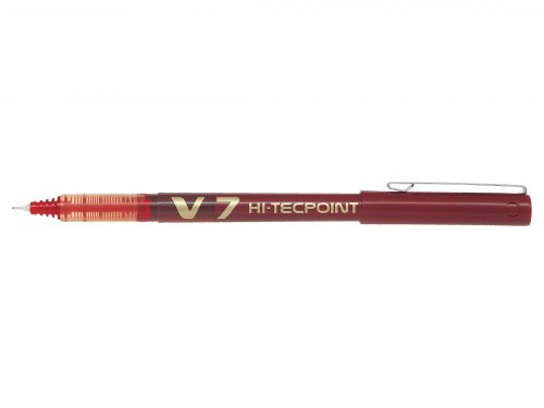 Pilot V7 Hi-Tecpoint Ultra Rollerball Pen Fine Red (Pack of 12) V702