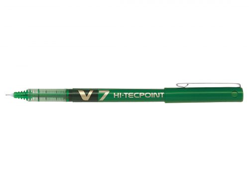 Pilot V7 Hi-Tecpoint Liquid Ink Rollerball Pen 0.7mm Tip 0.5mm Line Green (Pack 12)