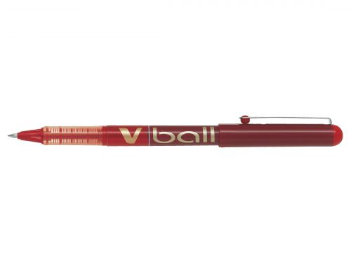 Pilot V-Ball VB7 Rollerball Pen Medium 0.7mm Tip 0.4mm Line Red Ref BLVB702 [Pack 12]