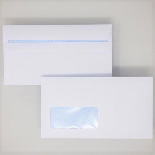 Wallet Self-Seal DL White 100gsm  110 x 220mm Window 39 x 93mm 18 Up 19 Left Blue Hatch Inner Opaque (Box 500) Code ENVDL/1083