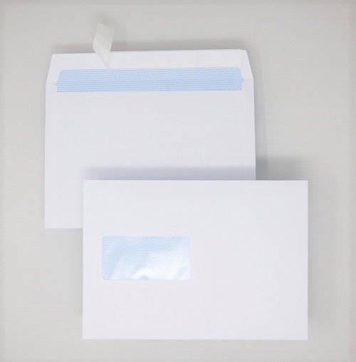 Wallet Peel & Seal C5 White 100gsm 162 x 229mm Window 45 x 90mm 60 Up 20 Left Blue Hatch Inner Opaque (Box 500) Code ENVC5/1126