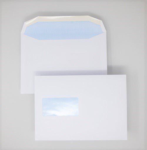 Wallet Gummed C5 White 90gsm 162 x 229mm Window 45 x 90mm 60 Up 20 Left Blue Hatch Inner Opaque (Box 500) Code ENVC5/2089OSS