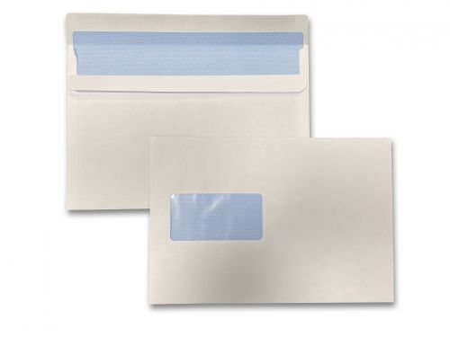 Wallet Self-Seal C5+ White 90gsm 162 x 238mm Window 45 x 90mm 60 Up 20 Left Blue Hatch Inner Opaque (Box 500) Code 2808