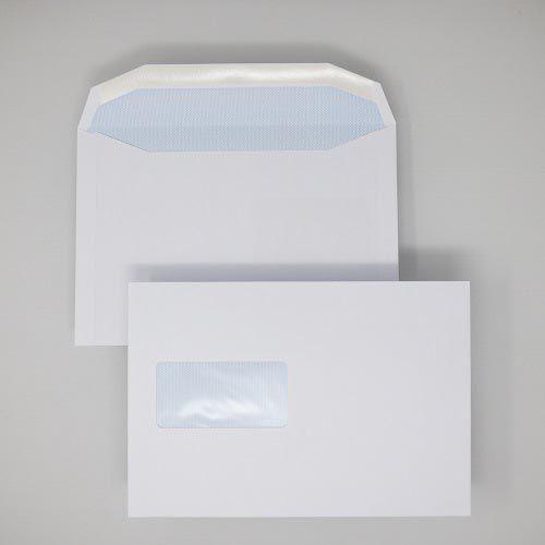 Wallet Gummed C5+ White 90gsm 162 x 235mm Window 45 x 90mm 60 Up 20 Left Blue Hatch Inner Opaque (Box 500) Code ENVC5+/3032OSS