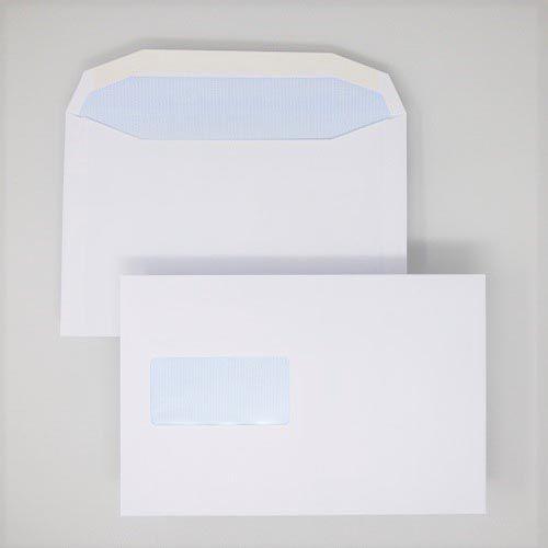 Wallet Gummed C5+ White 90gsm 162 x 238mm Window 45 x 90mm 60 Up 20 Left Blue Hatch Inner Opaque (Box 500) Code ENVC5+/3035OSS