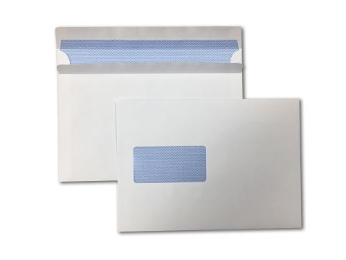 Wallet Self-Seal C5 White 90gsm 162 x 229mm Window 45 x 90mm 60 Up 20 Left Blue Hatch Inner Opaque (Box 500) Code ENVC5/6040