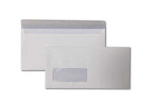 Wallet Peel & Seal DL White 100gsm  110 x 220mm Window 35 x 90mm 18 Up 19 Left Blue Hatch Inner Opaque (Box 500) Code ENVDL/11624