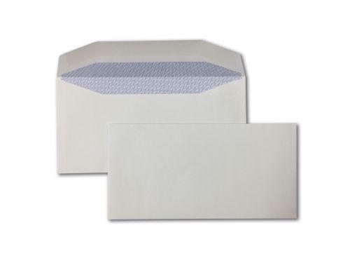 Wallet Gummed DL White 90gsm 110 x 220mm Blue Hatch Inner Opaque (Box 1000) Code ENVDL/12305