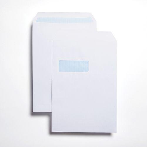 Pocket Self-Seal C4 White 90gsm 324 x 229mm Window 45 x 105mm 213 Up 24 Left Blue Hatch Inner Opaque (Box 250) Code ENVC4/2735