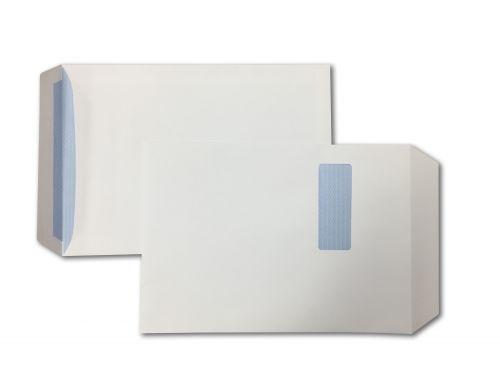 Pocket Peel & Seal C4 White 100gsm 324 x 229mm Window 40 x 105mm 213 Up 24 Left Blue Hatch Inner Opaque (Box 250) Code ENVC4/9087