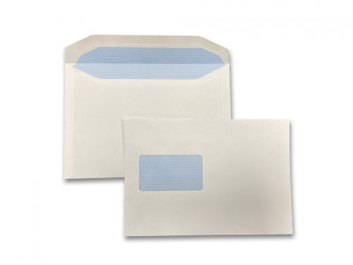 Wallet Self-Seal C5+ White 90gsm 162 x 235mm Window 50 x 90mm 60 Up 20 Left Blue Pattern Inner Opaque (Box 500) Code ENVC5+/4045