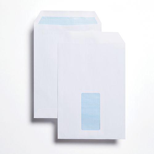 Pocket Self-Seal C5 White 100gsm 229 x 162mm Window 45 x 90mm 60 Up 20 Left Blue Hatch Inner Opaque (Box 500) Code ENVC5/2726