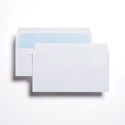 Wallet Self-Seal DL White 80gsm 110 x 220mm Blue Hatch Inner Opaque (Box 1000) Code ENVDL/1080