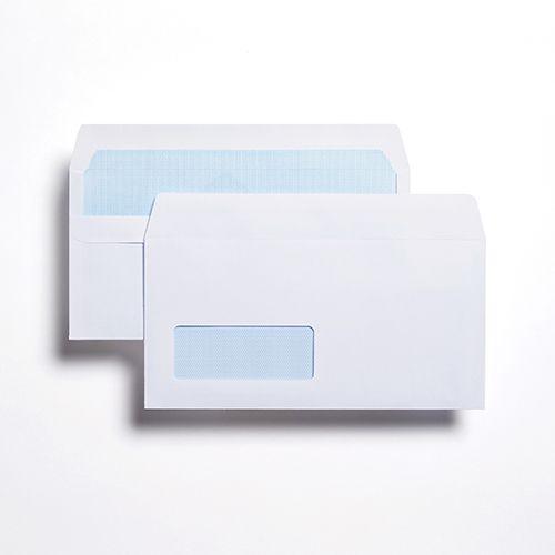 Wallet Self-Seal DL White 80gsm  110 x 220mm Window 35 x 90mm 18 Up 19 Left Blue Hatch Inner Opaque  (Box 1000) Code ENVDL/1087