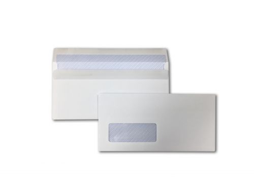Wallet Self-Seal DL White 90gsm 110 x 220mm Window 35 x 90mm 18 Up 19 Left Blue Hatch Inner Opaque (Box 1000) Code ENVDL/11313