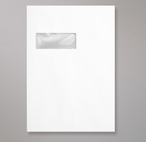 Pocket Peel & Seal C4 Board Back 324 x 229mm White 120gsm Paper 600gsm Grey Board Backed Window 40 x 105mm 213 Up 24 Left (Box 125) Code HB324W-W