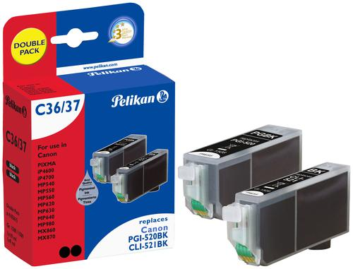 Pelikan Ink Cartridge replaces Canon PGI-520BK/CLI-521BK Twin Pack