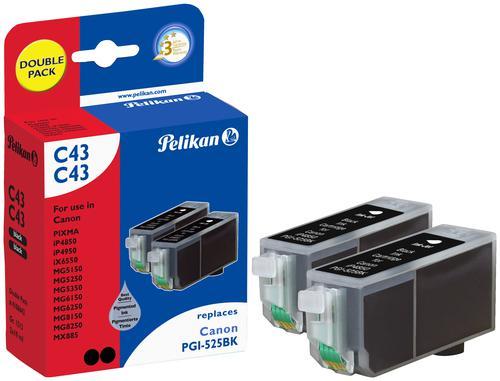 Pelikan Ink Cartridge replaces Canon PGI-525PGBK Black Twin Pack
