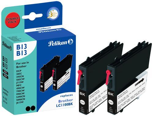 Pelikan Ink Cartridge replaces Brother LC1100BK Black Twin Pack