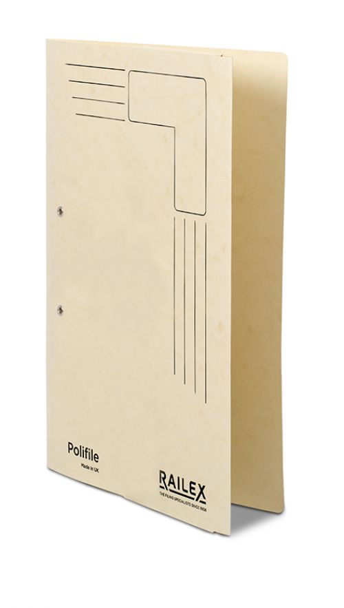 Railex Polifile Foolscap With Pocket 330Gsm Ivory Pack 25