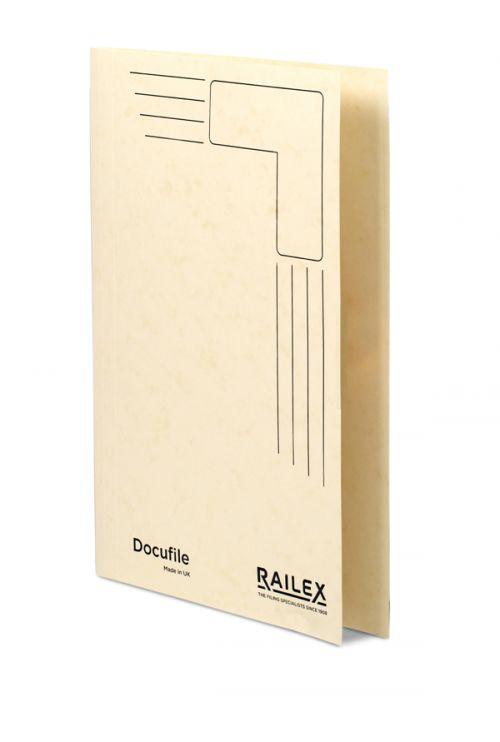 Railex Docufile Square Cut Folder F7 Foolscap 350gsm Ivory PK100