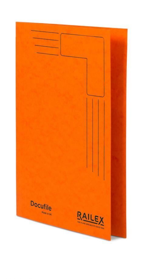 Railex Docufile Square Cut Folder F7 Foolscap 350gsm Mandarin PK100