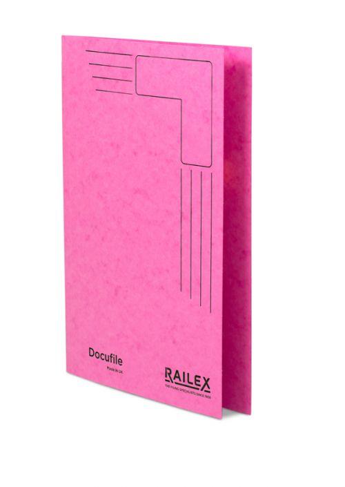 Railex Docufile Square Cut Folder F7 Foolscap 350gsm Cerise PK100