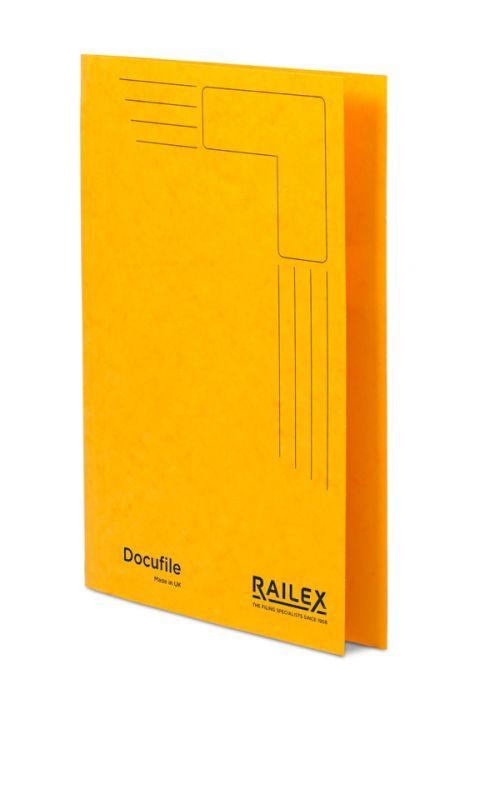 Railex Docufile Square Cut Folder F7 Foolscap 350gsm Gold PK100