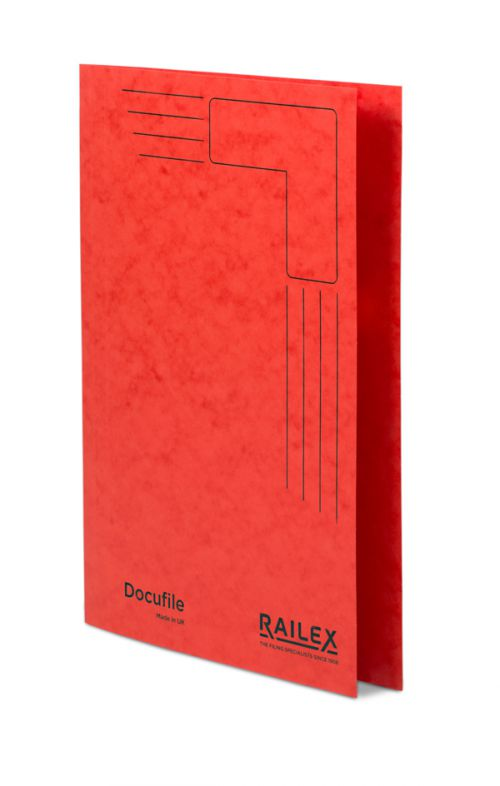 Railex Docufile Square Cut Folder F7 Foolscap 350gsm Ruby PK100