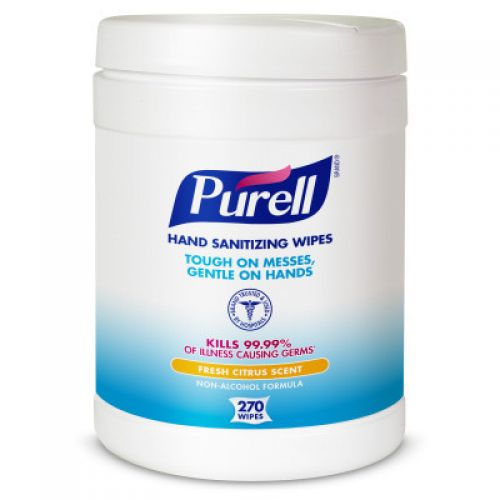 Fresh Citrus Hand Sanitizing Wet Wipes 6''x6.75'', Canister, White (270 Per Canister, 6 Canisters)