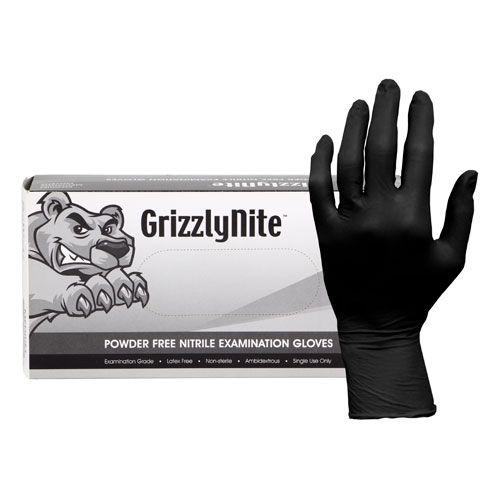 Hospeco Disposable Nitrile Gloves Medium Black Powder Free Pack 10 / 100 cs