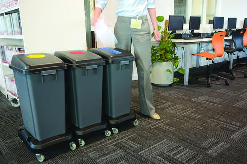 Office Recycle Centre Kit Complete 3 x 60l Bins + 3 Dollies 101733