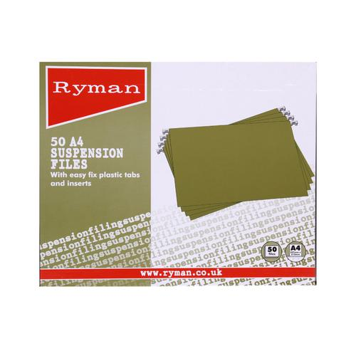 Ryman Office Suspension Files A4 Box of 50 Green
