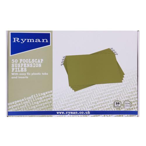 Ryman Office Suspension Files Foolscap Box of 50 Green