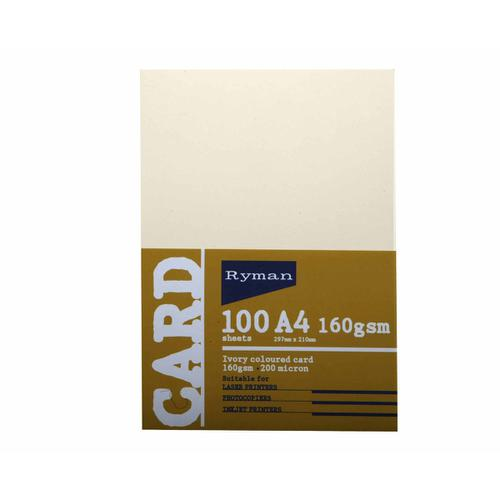 Ryman Card 160gsm Pack of 100 in Ivory