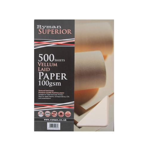 Ryman Laid Paper A4 100gsm Ream Vellum Pack 500