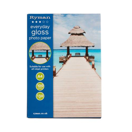 Ryman Everyday Gloss Photo Paper A4 150gsm Pack of 100