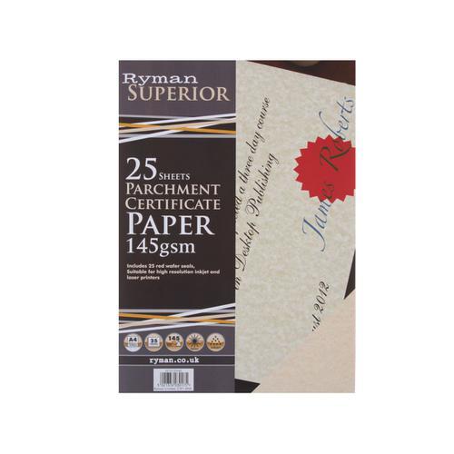 Ryman Certificate Paper A4 Pack of 25 in Cream