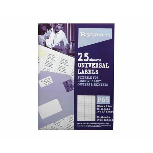 Ryman Universal Labels P65 38 x 21mm Pack of 25 in White