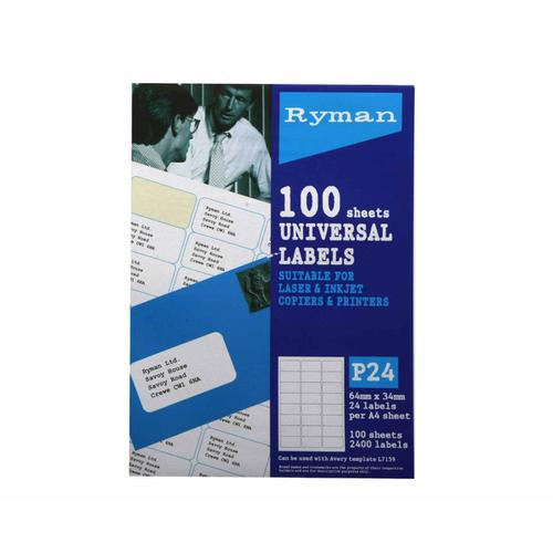 Ryman Universal Labels P24 64 x 34mm Box of 100 in White